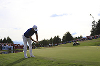 Lucas Bjerregaard (DEN) misses his putt on the playoff green 18 during Sunday's Final Round 4 of the 2018 Omega European Masters, held at the Golf Club Crans-Sur-Sierre, Crans Montana, Switzerland. 9th September 2018.<br /> Picture: Eoin Clarke | Golffile<br /> <br /> <br /> All photos usage must carry mandatory copyright credit (© Golffile | Eoin Clarke)