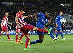 Leicester's Wes Morgan tussles with Atletico's Stefan Savic during the Champions League Quarter-Final 2nd leg match at the King Power Stadium, Leicester. Picture date: April 18th, 2017. Pic credit should read: David Klein/Sportimage
