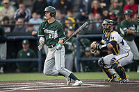Michigan State Spartans outfielder Dan Chmielewski (21) follows through on his swing against the Michigan Wolverines during the NCAA baseball game on April 18, 2017 at Ray Fisher Stadium in Ann Arbor, Michigan. Michigan defeated Michigan State 12-4. (Andrew Woolley/Four Seam Images)