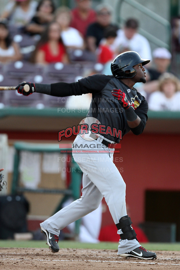 Julio Morban #17 of the High Desert Mavericks bats against the Inland Empire 66'ers at San Manuel Stadium on August 26, 2012 in San Bernardino, California. High Desert defeated Inland Empire 4-0. (Larry Goren/Four Seam Images)