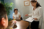 "Etsuko Satake (r) critiques a simulation class between student ""Keiko"" (c) and an unidentified coach (l) at Infini, a school training marriage hopefuls how to hook Mr. or Mrs. Right in Tokyo, Japan on Sep. 9, 2010."