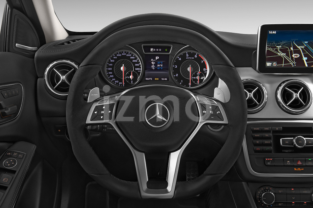 Car pictures of steering wheel view of a 2015 Mercedes Benz GLA-KLASSE AMG 5 Door SUV Steering Wheel