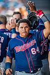 2 March 2019: Minnesota Twins infielder Willians Astudillo returns to the dugout after scoring in a Spring Training game against the Washington Nationals at the Ballpark of the Palm Beaches in West Palm Beach, Florida. The Twins fell to the Nationals 10-6 in Grapefruit League play. Mandatory Credit: Ed Wolfstein Photo *** RAW (NEF) Image File Available ***