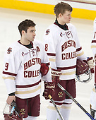 Austin Cangelosi (BC - 9), Jesper Mattila (BC - 8) - The visiting University of Vermont Catamounts tied the Boston College Eagles 2-2 on Saturday, February 18, 2017, Boston College's senior night at Kelley Rink in Conte Forum in Chestnut Hill, Massachusetts.Vermont and BC tied 2-2 on Saturday, February 18, 2017, Boston College's senior night at Kelley Rink in Conte Forum in Chestnut Hill, Massachusetts.