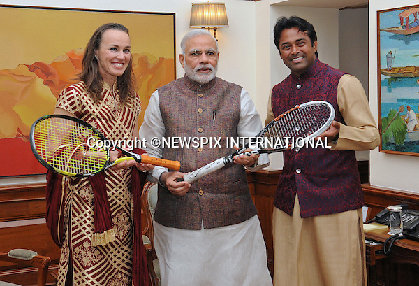 06.03.2015; New Delhi, India: MARTINA HINGIS AND LEANDER PAES MEET PM NARENDRA MODI<br />