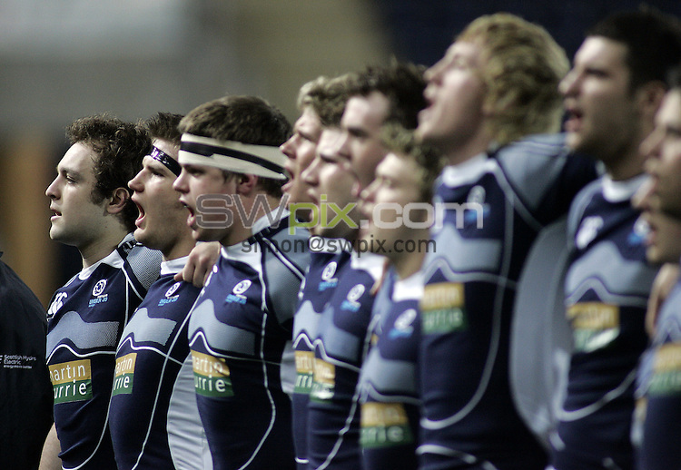 PICTURE BY VAUGHN RIDLEY/SWPIX.COM - Rugby Union - U20 Six Nations - Scotland v England - Falkirk, Scotland - 07/03/08...Copyright - Simon Wilkinson - 07811267706..Scotland's Lewis Calder and teammates sing national anthem.