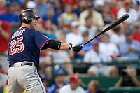 Minnesota Twins designated hitter Jim Thome #25 at bat during a Major League Baseball game against the Texas Rangers at the Rangers Ballpark in Arlington, Texas on July 27, 2011. Minnesota defeated Texas 7-2.  (Andrew Woolley/Four Seam Images)