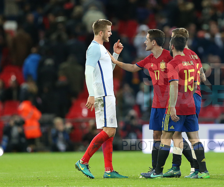England's Eric Dier argues with Spain's Ander Herrera at the final whistle during the friendly match at Wembley Stadium, London. Picture date November 15th, 2016 Pic David Klein/Sportimage