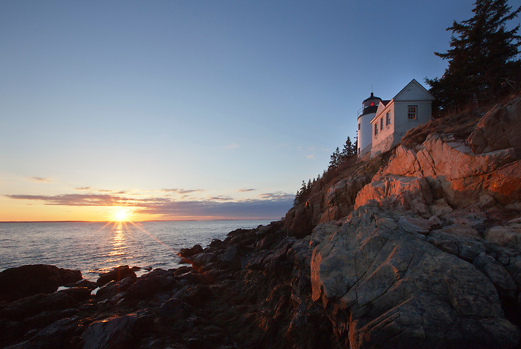 Sunset at Bass Harbor Head Lighthouse at Acadia National Park, Maine, USA