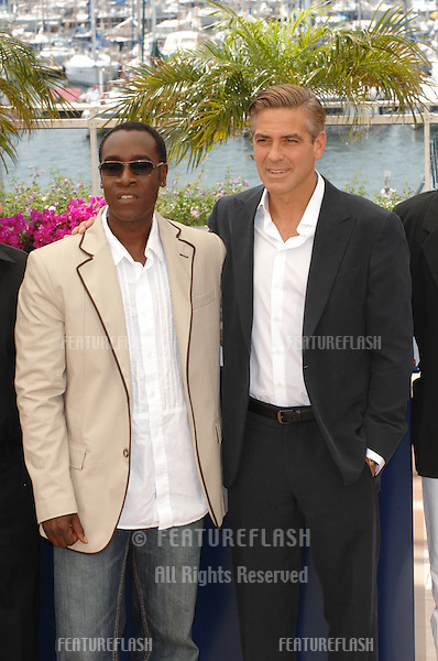 "Don Cheadle (left) & George Clooney at photocall for ""Ocean's Thirteen"" at the 60th Annual International Film Festival de Cannes..May 24, 2007  Cannes, France..© 2007 Paul Smith / Featureflash"
