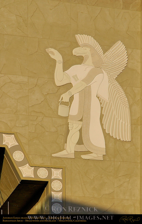 Assyrian Eagle-headed Winged Deity, Ashur or Nisroch with water vessel and fir cone or spathe sponge, Babylonian arch, Hollywood and Highland, Hollywood, California