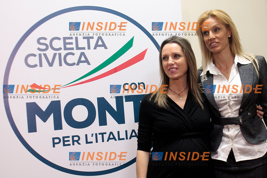 Valentina Vezzali e Annalisa Minetti.Roma 15/02/2013 Presentazione del programma per lo sport della Scelta Civica Monti per l'Italia..The italian premier presents his program for sport for the next elections 2013 and candidate two of the best athlets in the world at the past olympic and paralympic games. .Photo Samantha Zucchi Insidefoto