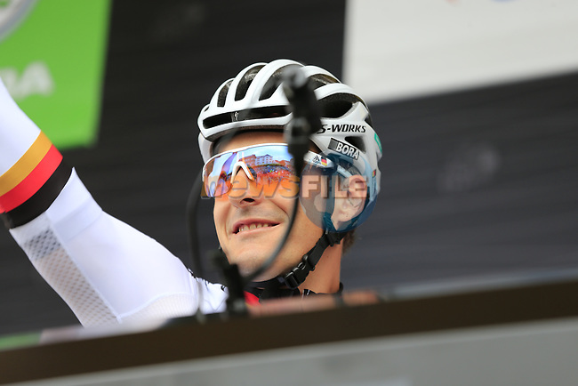 German National Champion Emanuel Buchmann (GER) Bora-Hansgrohe at sign on in Dusseldorf before the start of Stage 2 of the 104th edition of the Tour de France 2017, running 203.5km from Dusseldorf, Germany to Liege, Belgium. 2nd July 2017.<br /> Picture: Eoin Clarke | Cyclefile<br /> <br /> <br /> All photos usage must carry mandatory copyright credit (&copy; Cyclefile | Eoin Clarke)