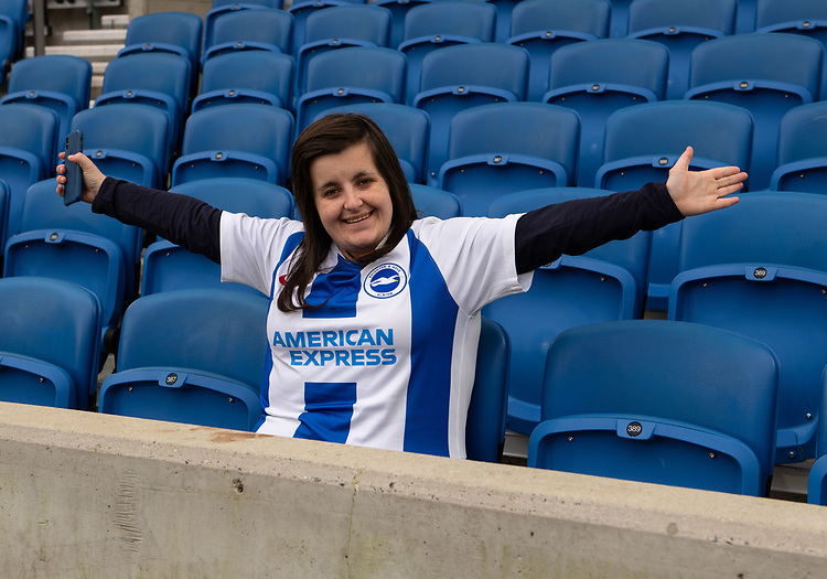 Brighton & Hove Albion fan<br /> <br /> Photographer David Horton/CameraSport<br /> <br /> The Premier League - Brighton and Hove Albion v Liverpool - Saturday 12th January 2019 - The Amex Stadium - Brighton<br /> <br /> World Copyright © 2018 CameraSport. All rights reserved. 43 Linden Ave. Countesthorpe. Leicester. England. LE8 5PG - Tel: +44 (0) 116 277 4147 - admin@camerasport.com - www.camerasport.com