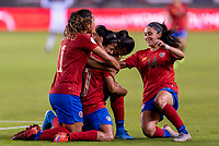 HOUSTON, TX - JANUARY 28: Shirley Cruz #10 of Costa Rica celebrates a goal with teammates during a game between Costa Rica and Panama at BBVA Stadium on January 28, 2020 in Houston, Texas.