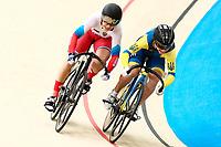 Picture by Alex Whitehead/SWpix.com - 09/12/2017 - Cycling - UCI Track Cycling World Cup Santiago - Velódromo de Peñalolén, Santiago, Chile - Russia's Daria Shmeleva defeats Ukraine's Olena Starikova in the Women's Sprint quarter-finals.