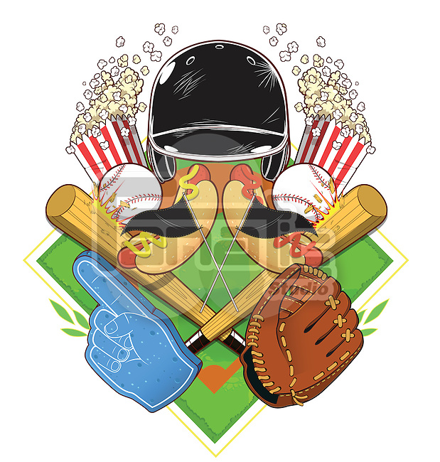 Illustrative image of popcorn and baseball equipment against white background
