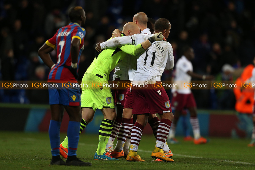 Aston Villa players congratulate Brad Guzan of Aston Villa after their win - Crystal Palace vs Aston Villa - Barclays Premier League Football at Selhurst Park, London - 02/12/14 - MANDATORY CREDIT: Simon Roe/TGSPHOTO - Self billing applies where appropriate - contact@tgsphoto.co.uk - NO UNPAID USE
