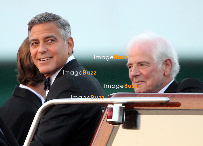 George Clooney &amp; his father Nick Clooney - GEORGE CLOONEY &amp; AMAL ALAMUDDIN WEDDING CEREMONY AT THE AMAN RESORTS HOTEL IN VENICE - <br /> George Clooney &amp; British fiancee Amal Alamuddin and guests on taxi boat on the Grand Canal on their way to the seven-star Aman Hotel for the wedding celebrations.<br /> Robert De Niro, Matt Damon, Brad Pitt and Cate Blanchett were among the other stars, like Cindy Crawford, Rande Geber, Bill Murray, Emily Blunt.<br /> Italy, Venice, 27 September, 2014.