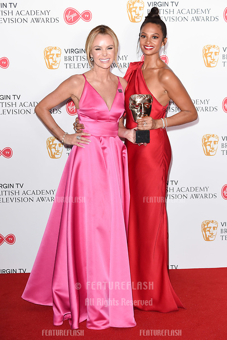 Amanda Holden and Alesha Dixon in the winners room for the BAFTA TV Awards 2018 at the Royal Festival Hall, London, UK. <br /> 13 May  2018<br /> Picture: Steve Vas/Featureflash/SilverHub 0208 004 5359 sales@silverhubmedia.com