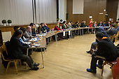 Chris Hattam iberal Democrats, Hustings with Conservative, Labour, Liberal Democrats and Green local election candidates ffor West Hampstead and Fortune Green wards, Camden, London.  Alex Kaaye (L) David Brescia (C) Sedef Akademir (R).