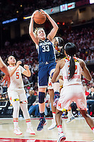 College Park, MD - DEC 29, 2016: Connecticut Huskies guard/forward Katie Lou Samuelson (33) brings down a rebound during game between No. 1 UConn and the No. 3 Terrapins at the XFINITY Center in College Park, MD. UConn defeated Maryland 87-81. (Photo by Phil Peters/Media Images International)