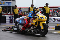 Apr. 28, 2013; Baytown, TX, USA: NHRA pro stock motorcycle rider Michael Ray Jr during the Spring Nationals at Royal Purple Raceway. Mandatory Credit: Mark J. Rebilas-