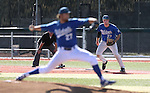 Wildcats' Corey Pool keeps a Salt Lake Community College runner close to first as Max Karnos pitches in a baseball game at Western Nevada College in Carson City, Nev., on Thursday, March 5, 2015. <br /> Photo by Cathleen Allison/Nevada Photo Source