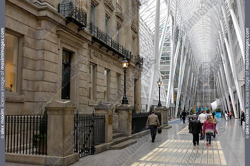 Vaulted ceiling of Allen Lambert Galleria Designed by Spanish architect Santiago Calatrava Toronto Ontario Canada architectural details