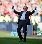 Gordon Strachan celebrates after Leigh Griffits puts Scotland 2-1 up in the last minute. However....