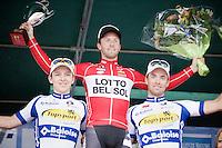 podium:<br /> 1/ winner Jonas Van Genechten (BEL/Lotto-Belisol)<br /> 2/ (left) Jasper de Buyst (BEL/Topsport Vlaanderen-Baloise)<br /> 3/ (right) Tom Van Asbroeck (BEL/Topsport Vlaanderen-Baloise)<br /> <br /> 54th Druivenkoers 2014<br /> Huldenberg - Overijse (Belgium): 196km