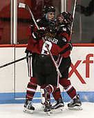 Kasidy Anderson (NU - 37), Andrea Renner (NU - 8), Maddie Hartman (NU - 27) - The Boston College Eagles defeated the Northeastern University Huskies 2-1 to win the Beanpot on Monday, February 7, 2017, at Matthews Arena in Boston, Massachusetts.