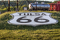Tulsa 66 shield at the Route 66 Villiage in Tulsa Oklahom.