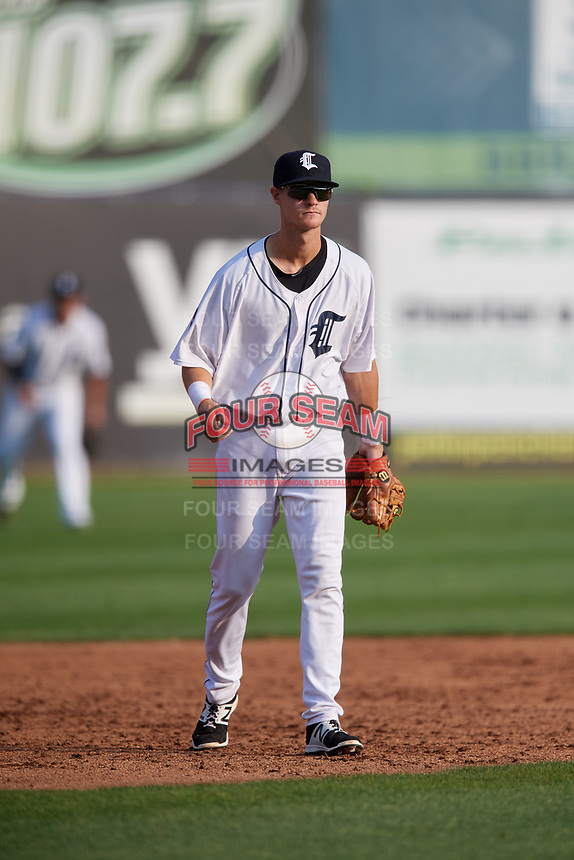 Connecticut Tigers third baseman Cam Warner (44) during a game against the Lowell Spinners on August 26, 2018 at Dodd Stadium in Norwich, Connecticut.  Connecticut defeated Lowell 11-3.  (Mike Janes/Four Seam Images)