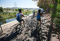 Incoming Occidental College first years go on group outings as part of OxyEngage. The trips take place the week before classes start. This group (L.A. Underground) rode bicycles along the Los Angeles River, eventually soaking their feet in it, , August 25, 2010. (Photo by Marc Campos, Occidental College Photographer)