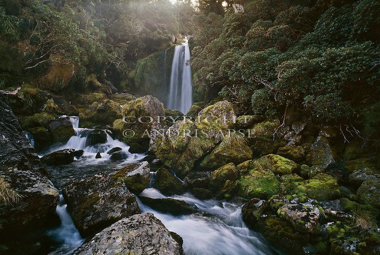 Waterfall on the Upper Martyr River. Westland National Park. New Zealand.