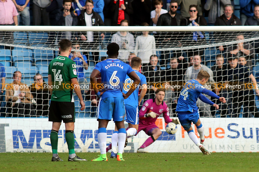 Gillingham's Josh Wright scores his third goal from the penalty spot during Gillingham vs Scunthorpe United, Sky Bet EFL League 1 Football at the MEMS Priestfield Stadium on 11th March 2017