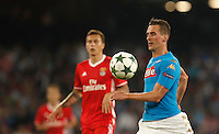 Calcio, Champions League: Napoli vs Benfica. Napoli, stadio San Paolo, 28 settembre 2016.<br /> Napoli's Arkadiusz Milik in action during the Champions League Group B soccer match between Napoli and Benfica at Naple's San Paolo stadium, 28 September 2016. Napoli won 4-2.<br /> UPDATE IMAGES PRESS/Isabella Bonotto