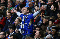 A Leicester City fan cheers his team on during the Barclays Premier League match between Leicester City and Swansea City played at The King Power Stadium, Leicester on 24th April 2016
