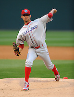 Starting pitcher Lino Martinez (27) of the Lakewood BlueClaws in a game against the Greenville Drive on the Drive's Opening Day, April 5, 2012, at Fluor Field at the West End in Greenville, South Carolina. (Tom Priddy/Four Seam Images)