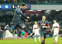 Esultanza  Gonzalo Higuain  durante l'incontro di calcio di Serie A   Napoli - Genoa allo  Stadio San Paolo  di Napoli , 27  Gennaio  2015