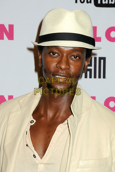 EDI GATHEGI.Nylon Magazine's Young Hollywood Party held at the Roosevelt Hotel's Tropicana Bar, Hollywood, California, USA..May 12th, 2010.headshot portrait white cream straw hat trilby fedora goatee facial hair .CAP/ADM/BP.©Byron Purvis/AdMedia/Capital Pictures.