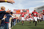 The Wisconsin Badgers run onto the field prior to an NCAA college football game against the Austin Peay Governors on September 25, 2010 at Camp Randall Stadium in Madison, Wisconsin. The Badgers beat the Governors 70-3. (Photo by David Stluka)