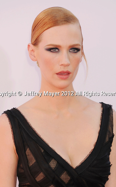LOS ANGELES, CA - SEPTEMBER 23: January Jones arrives at the 64th Primetime Emmy Awards at Nokia Theatre L.A. Live on September 23, 2012 in Los Angeles, California.