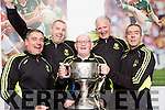 Crokes management team l-r: Harry O'Neill, Niall O'Callaghan, Eddie Tatler O'Sullivan, Mike Buckley and Pat O'Shea celebrate with the Bishop Moynihan cup after defeating Kenmare in the SFC final in Fitzgerald Stadium on Sunday