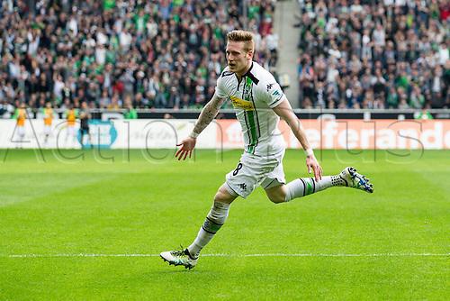 03.04.2016. Monchengladbach, Germany.  Bundesliga Football. Borussia Monchengladbach versus Hertha Berlin. Goal celebration from Andre Hahn (Borussia Moenchengladbach 28)