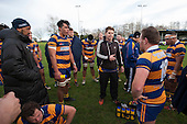 John Penberthy and Jeff Maka gather with the Patumahoe player at half time. Counties Manukau Premier Club Rugby game between Patumahoe and Ardmore Marist, played at Patumahoe on Saturday July 9th 2016.<br /> Ardmore Marist won the game 33 - 24 after leading 18 - 12 at halftime. Photo by Richard Spranger.