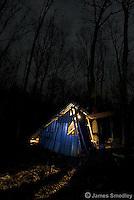 Maple sugar shack in the dark