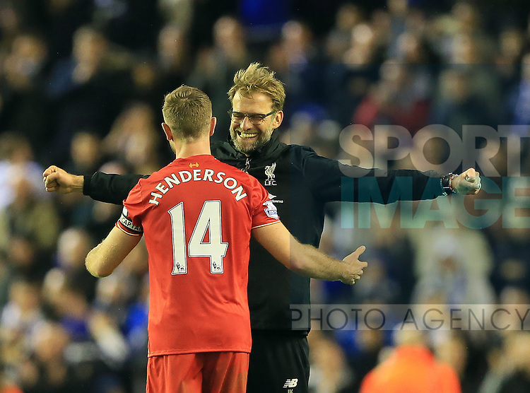 Liverpool's Jurgen Klopp celebrates with Jordan Henderson<br /> <br /> Barclays Premier League- Liverpool vs Leicester City - Anfield - England - 26th December 2015 - Picture David Klein/Sportimage