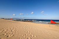 Red flags on Corralejo beach, Fuerteventura, Canary Islands, Spain.